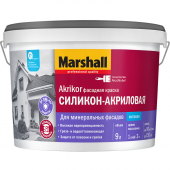 Marshall Akrikor Фасадная краска силикон-акриловая для фасадных поверхностей матовая база BW (0,9л)